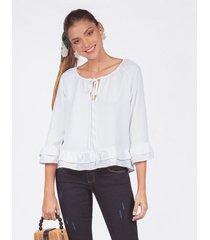 blusa adrissa escote v detalle de enresortado
