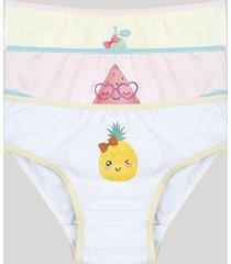 kit de 3 calcinhas infantis frutinhas multicor