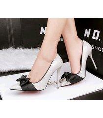 pp343 elegant pointy pump w black bowtie, patent leather,us size 4-8.5, gray