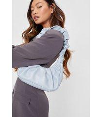 womens pu slouchy shoulder bag - light blue