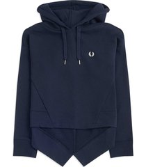 fred perry womens fishtail hooded sweatshirt | navy | g9127-608