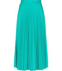 mm6 maison margiela pleated midi skirt - green