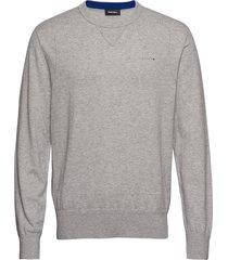 k-laux pullover stickad tröja m. rund krage grå diesel men