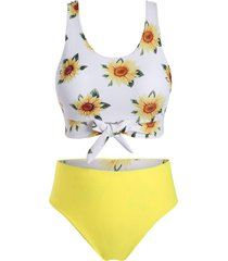 plus size sunflower print front tie reversible bikini swimsuit