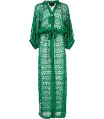 cynthia rowley sirena sheer beach cover-up - green