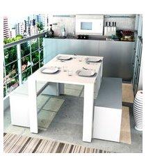 conjunto mesa de jantar appunto liv com 2 bancos