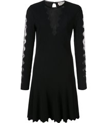 alexander mcqueen scalloped mesh insert skater dress - black