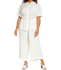 plus size women's lafayette 148 new york alyse belted crepe blouse, size 2x - ivory