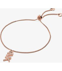 mk braccialetto base con cursore in argento sterling con placcatura in metallo prezioso e logo - oro rosa (oro rosa) - michael kors