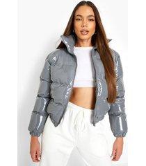 glanzende gewatteerde donzen jas met hoge hals, grey