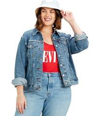 womens plus ex-boyfriend trucker jacket