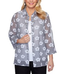 alfred dunner checkmate embellished layered-look top