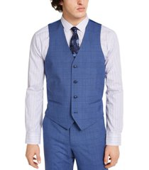 alfani men's slim-fit stretch medium blue plaid suit vest, created for macy's