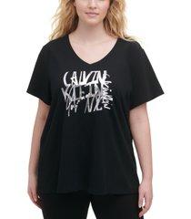 calvin klein plus size logo-print t-shirt
