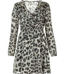 jurk met luipaardprint gianna  grijs