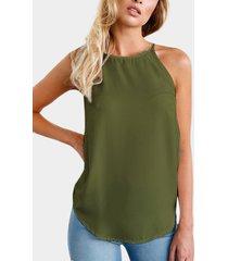 camiseta yoins basics army green classic crew cuello