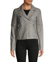 zip-front leather moto jacket
