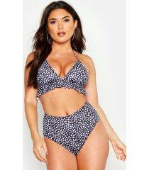 bikini met hoge taille, polkastippen en ruches, zwart