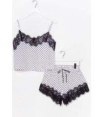 womens polka dot to go lace cami and shorts pajama set - white