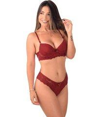 conjunto lingerie vip lingerie microfibra e renda francesa vermelho - kanui