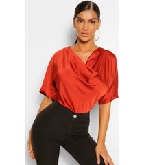 satin cowl neck short sleeve blouse, burnt orange