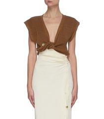 'le haut noue' front tie sleeveless knit top
