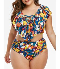 plus size butterfly floral print ruffled tankini swimwear