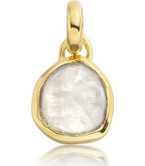 gold siren mini bezel pendant charm moonstone