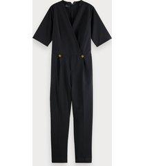 scotch & soda tailored v-neck short sleeve jumpsuit