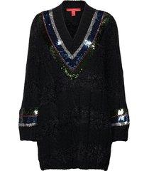 cable v-neck ls sweater stickad tröja svart tommy hilfiger