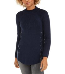 style & co mock neck lace-up ribbed knit sweater, created for macy's