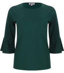 camiseta unicolor mujer manga campana color verde, talla s