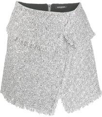 balmain asymmetric tweed mini skirt - silver