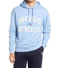 boss x russell athletic safara varsity logo hoodie, size medium - blue