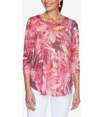 ruby rd. women's misses knit embellished floral top