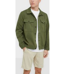 nudie jeans colin utility overshirt jackor green