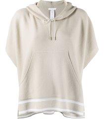 fabiana filippi pouch-pocket knitted hoodie - neutrals
