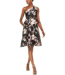 adrianna papell one-shoulder jacquard dress