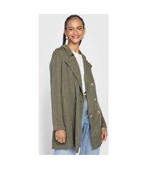 casaco trench coat cantão botões verde