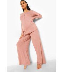zwangerschap borstvoeding pyjama set met knopen, rose