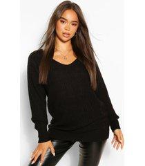 oversized grof gebreide trui, zwart