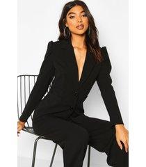 tall puff sleeve tailored blazer, black