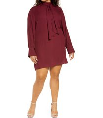 plus size women's city chic bow neck dress, size x-small - red