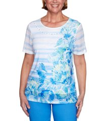 alfred dunner petite sea you there printed mesh-trim top