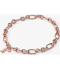 mk bracciale base con ciondolo in argento sterling con placcatura in metallo prezioso e maglie a catena - oro rosa (oro rosa) - michael kors