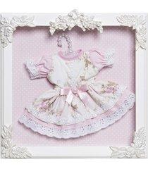 quadro com acrílico bonequinha vestido no cabide potinho de mel rosa - tricae