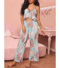 conjunto de pijama de tirantes de espagueti con lazo sin espalda tropical azul
