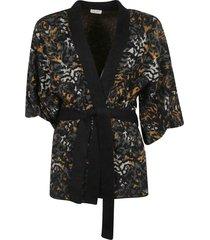 saint laurent tie-waist fur applique cardi-coat