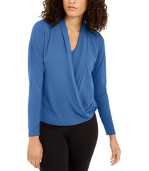alfani petite surplice top, created for macy's