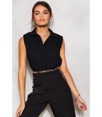 geweven mouwloze blouse met schouderpads, zwart